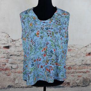 Zara XL Blue Garden Floral Button Back Blouse